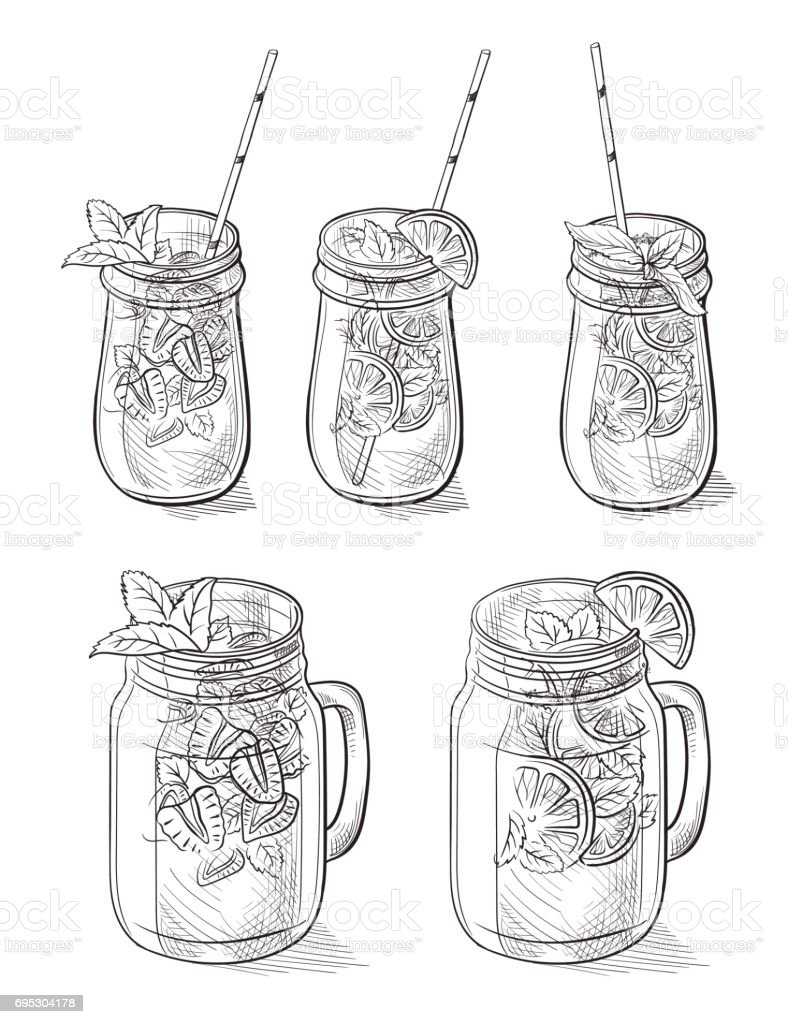 different cocktails limonade and glasses vector art illustration