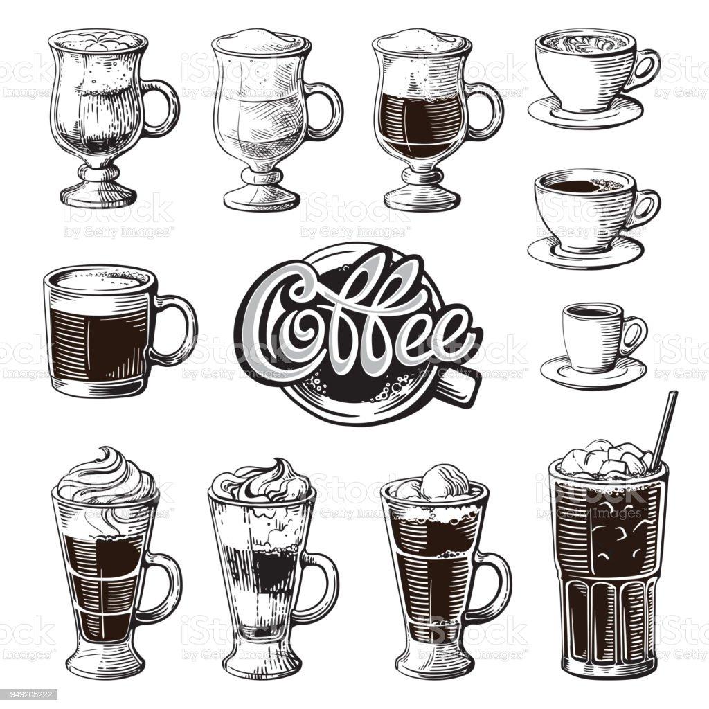 Verschiedene Kaffeegetränke Isoliert Espresso Macchiato Schokolade ...