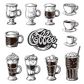 Different coffee drinks isolated. Espresso macchiato chocolate ristretto mocha irish cocoa frappe glace americano latte cappuccino.