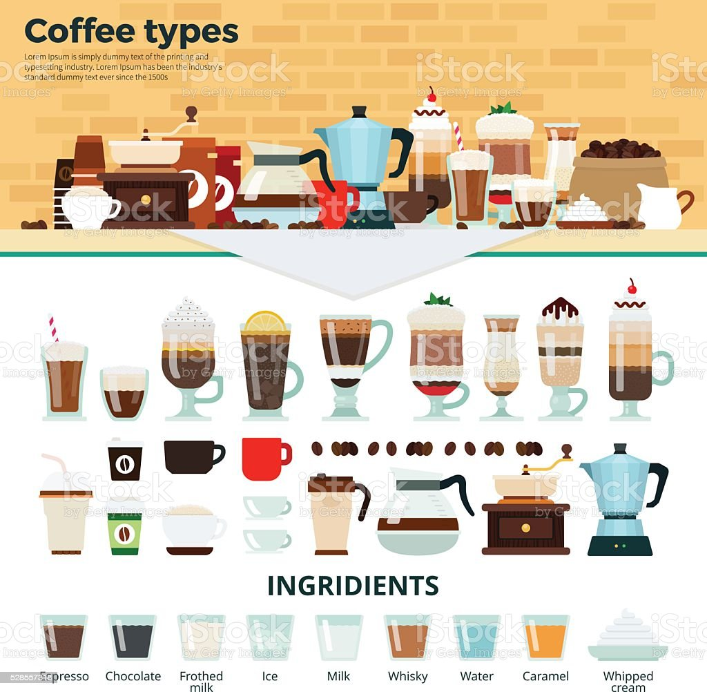 Different coffee on the table vector art illustration