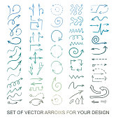 Different color Arrows icons, vector set. Abstract elements for business infographic. Up and down trend. Illustrations for Web Design