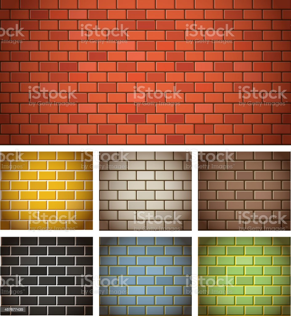 Different color brick textures vector art illustration