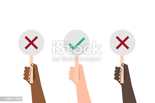 different color Hands showing vote icon boards on white background illustration vector