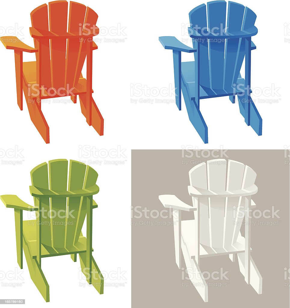 Different color Muskoka Adirondack armchairs - Royalty-free Adirondack Chair stock vector