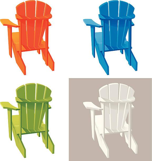 Different color Muskoka Adirondack armchairs Set of colorful Adirondack (Muskoka) Armchair. Vector. adirondack chair stock illustrations