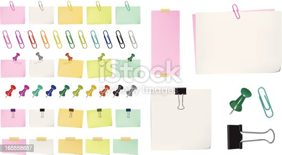 High detailed different types of papers,pins,tapes in different colors. Paper clips contains front part and back part so you can place them on a paper, file very flexible to use, zip file contains AI, High res. jpeg & png