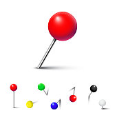 Different color pushpins isolated on white background. Vector realistic design element.