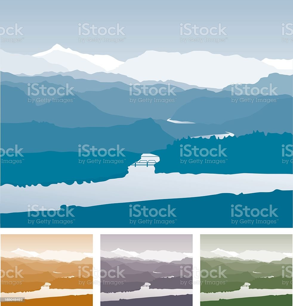 Different colored backgrounds with mountains and water