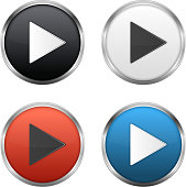 Different colored Circular play button set
