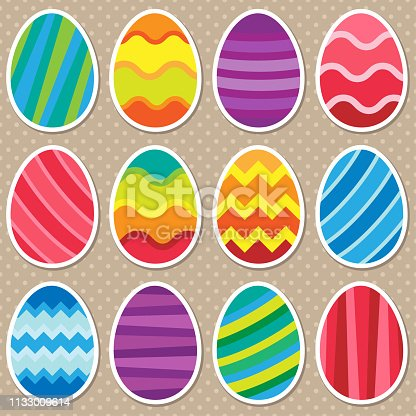 Illustration of colorful easter eggs stickers