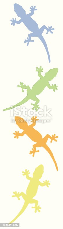 four nice geckos silhouettes in alternate pattern - Nice Vector