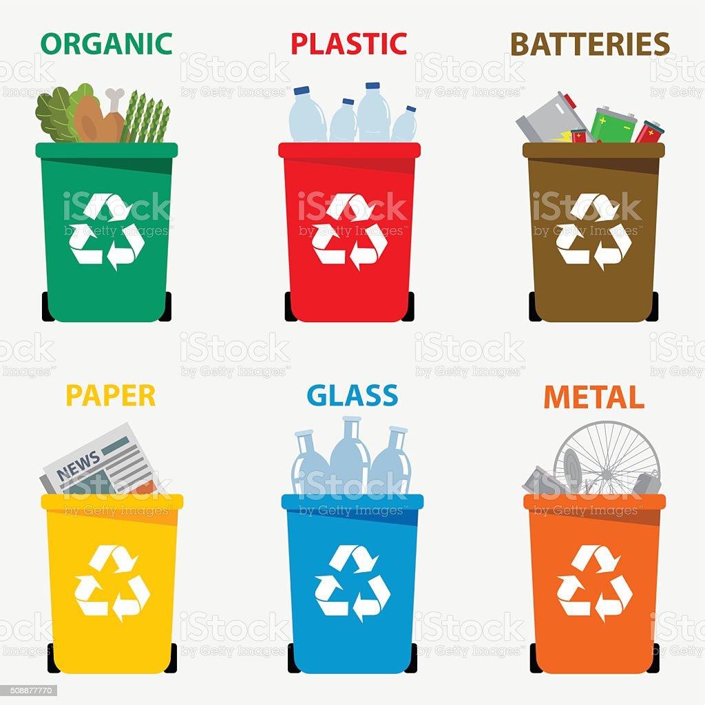 couleur diff rente des poubelles de recyclage des d chets cliparts vectoriels et plus d 39 images. Black Bedroom Furniture Sets. Home Design Ideas