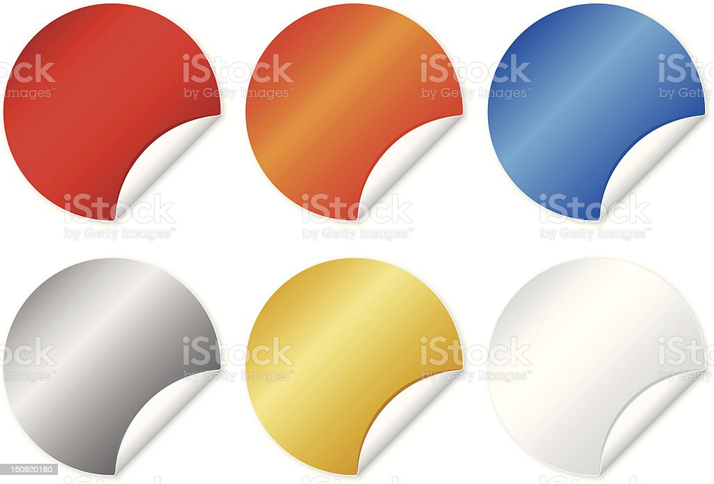Different colored shiny stickers vector art illustration