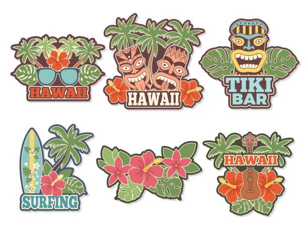 bildbanksillustrationer, clip art samt tecknat material och ikoner med olika färgade klistermärken och märken med symboler av hawaiian kultur - delstat hawaii