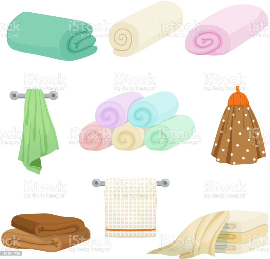 Different colored towels for kitchen and bathroom. Vector pictures in cartoon style vector art illustration