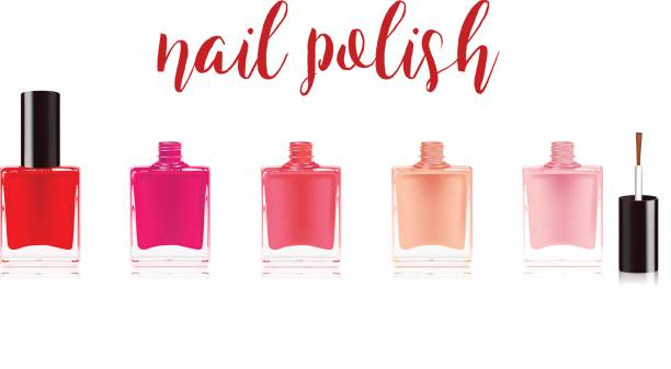 Different colors nail polish set. Nail varnish in the bottle with the bottle lid, isolated on white background. Vector illustration. Different colors nail polish set. Nail varnish in the bottle with the bottle lid, isolated on white background. Vector illustration white nail polish stock illustrations