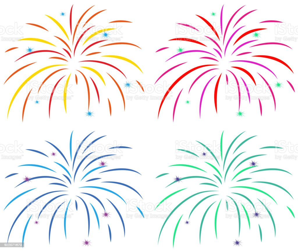Different Colors Of Fireworks On White Background Stock ...