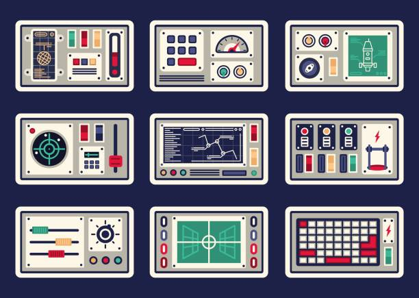 Different control panels Different control panels, consoles, buttons and devices, radar for spacecraft knob stock illustrations