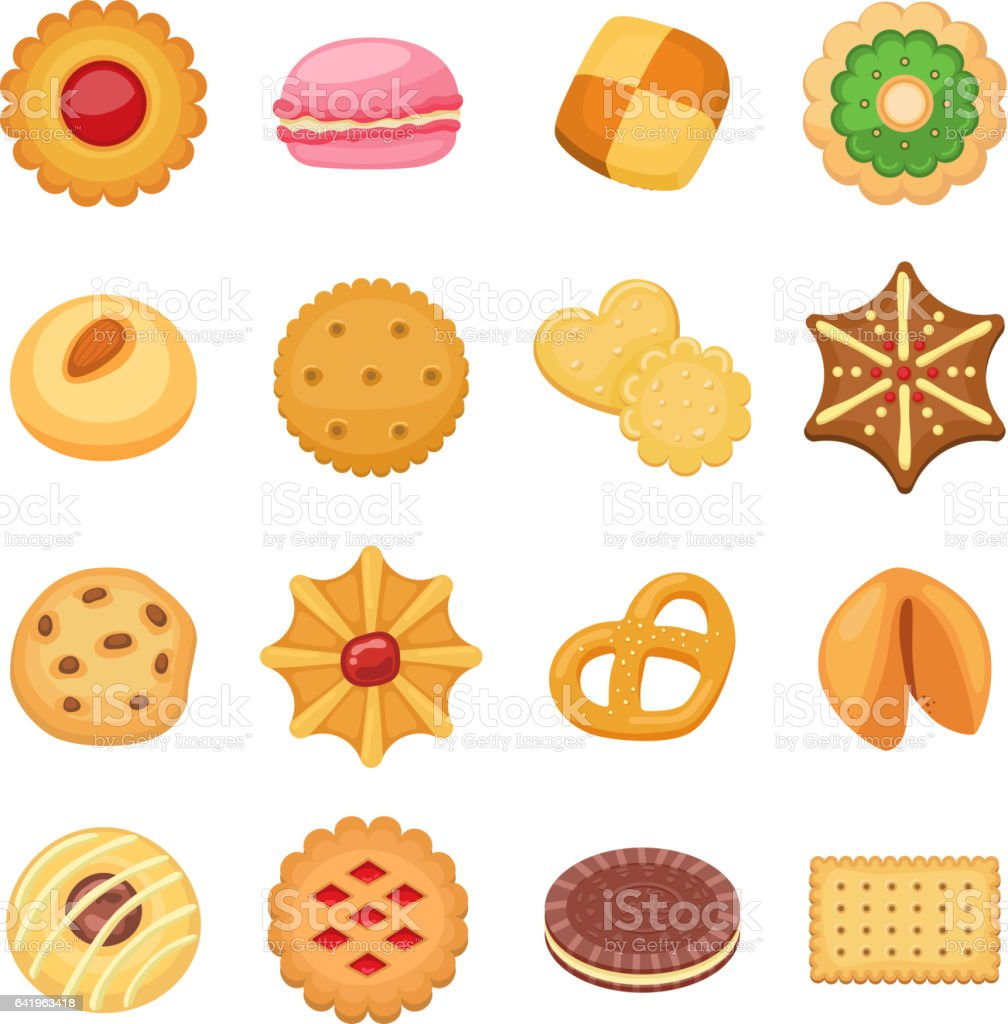 Different cookie cakes isolated vector set vector art illustration
