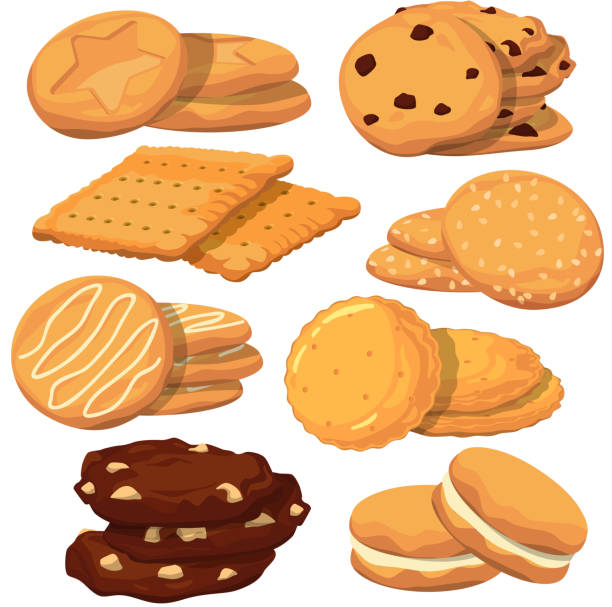 Different cookies in cartoon style. Vector icons set isolate on white vector art illustration