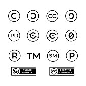 Different copyright icons set with creative commons and public domain signs.