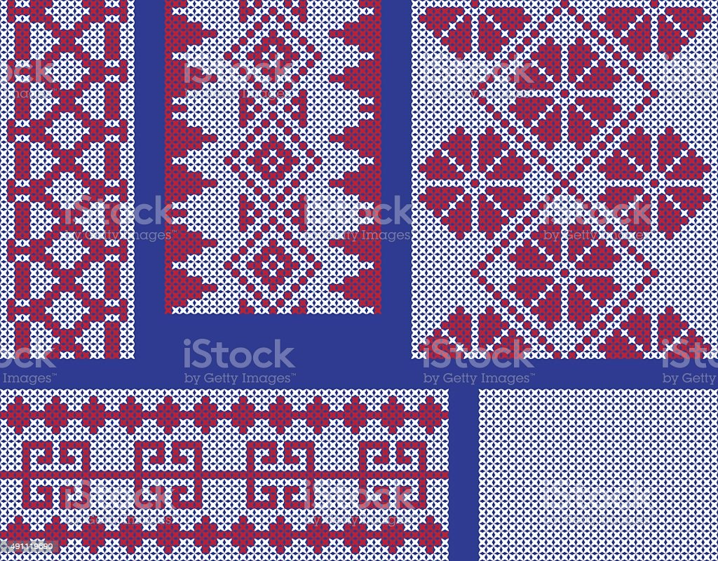 Different Crossstitch Embroidery Patterns Stock Illustration