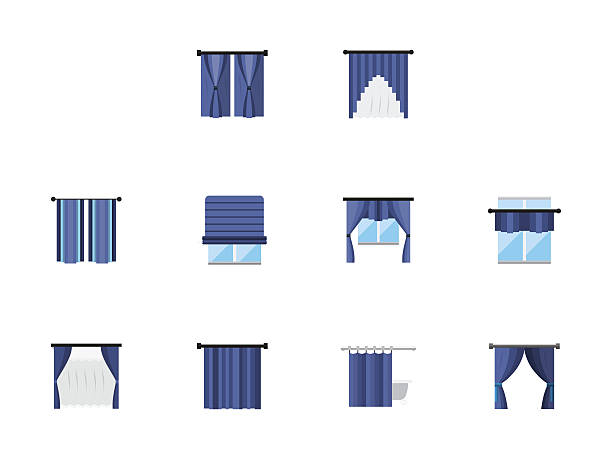 different curtains colored flat vector icons set - stoffrollos stock-grafiken, -clipart, -cartoons und -symbole