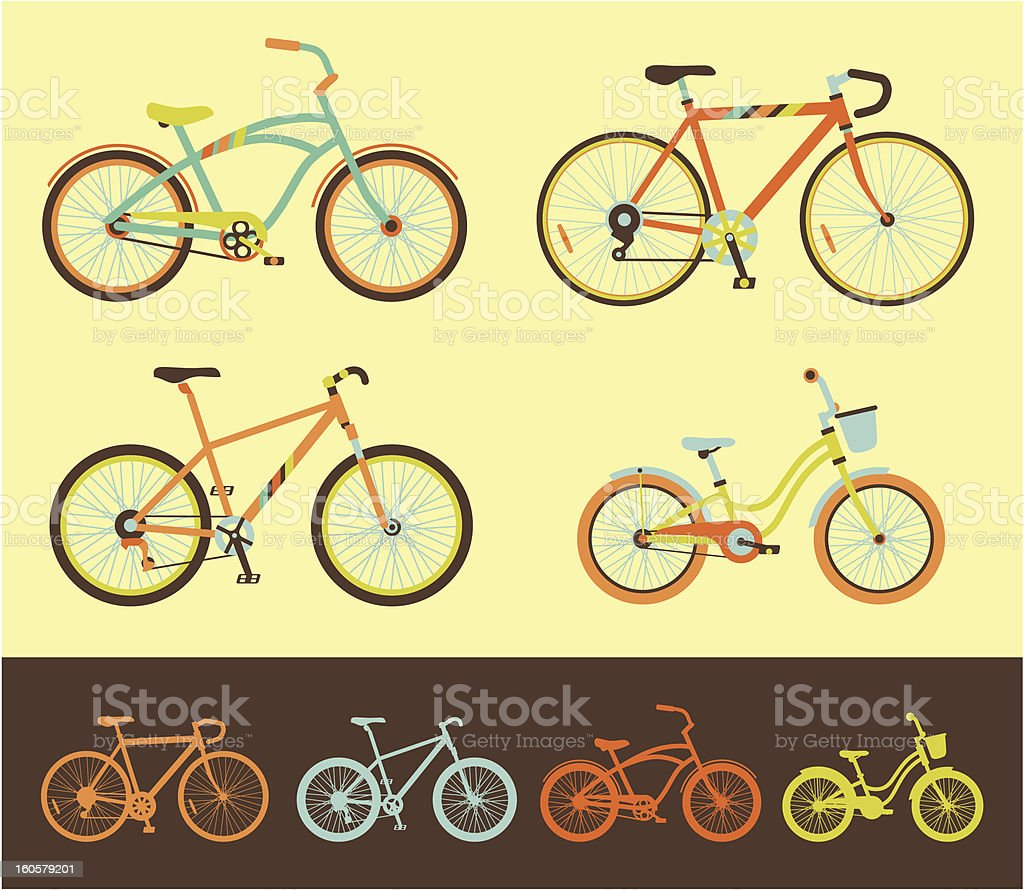 Different cute bicycle vector illustrations royalty-free stock vector art