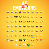 68 different cute high-detailed emoticon set for web, vector illustration