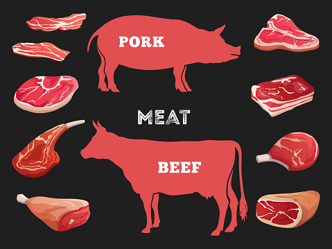 Different cuts of cow and pork meat vector illustration