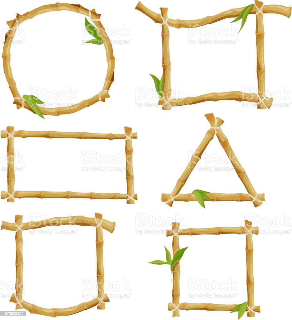 Different decorative frames from bamboo vector art illustration