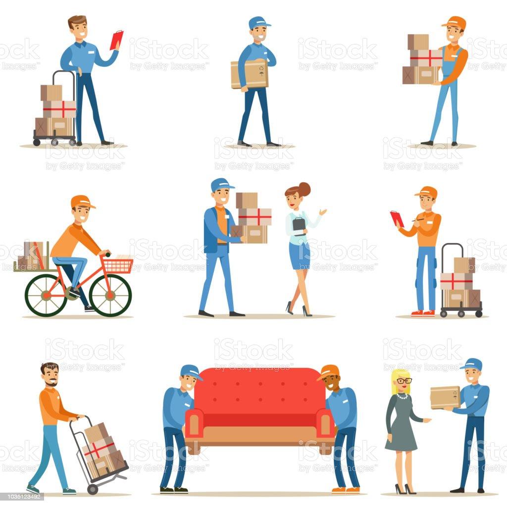 Abweichende Lieferanschrift Service Mitarbeiter und Kunden, lächelnd Kuriere liefern Pakete und Movers Möbelset Illustrationen zu bringen – Vektorgrafik