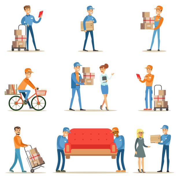 different delivery service workers and clients, smiling couriers delivering packages and movers bringing furniture set of illustrations - postal worker stock illustrations