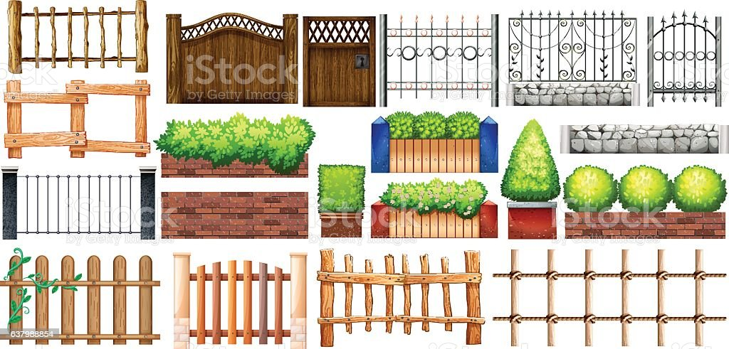 Different design of fence and wall vector art illustration