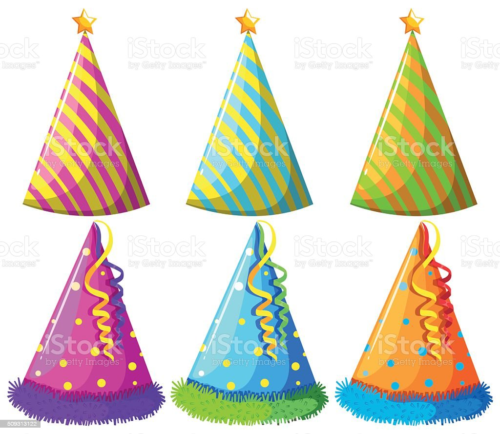Different design of party hats vector art illustration