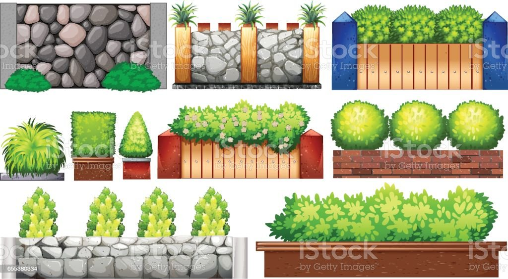 Different design of wall and fence vector art illustration