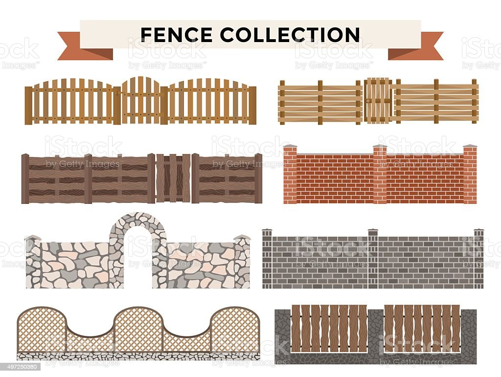 Different designs of fences and gates isolated on a white vector art illustration