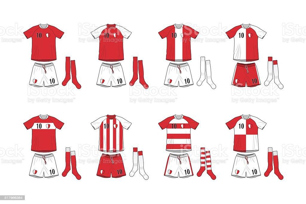 Different Designs of Soccer Kits vector art illustration