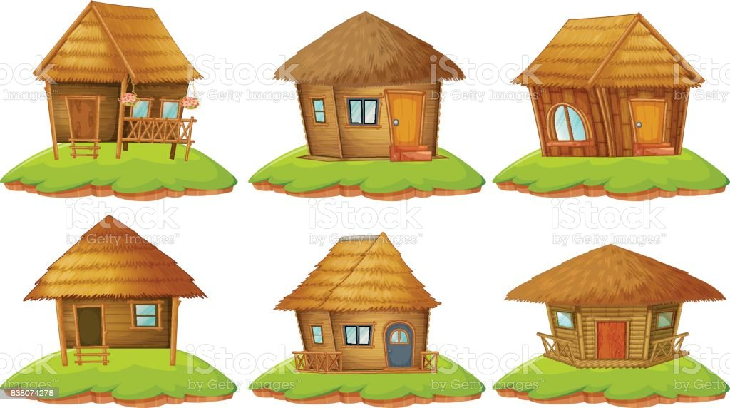 Different designs of wooden cottages vector art illustration