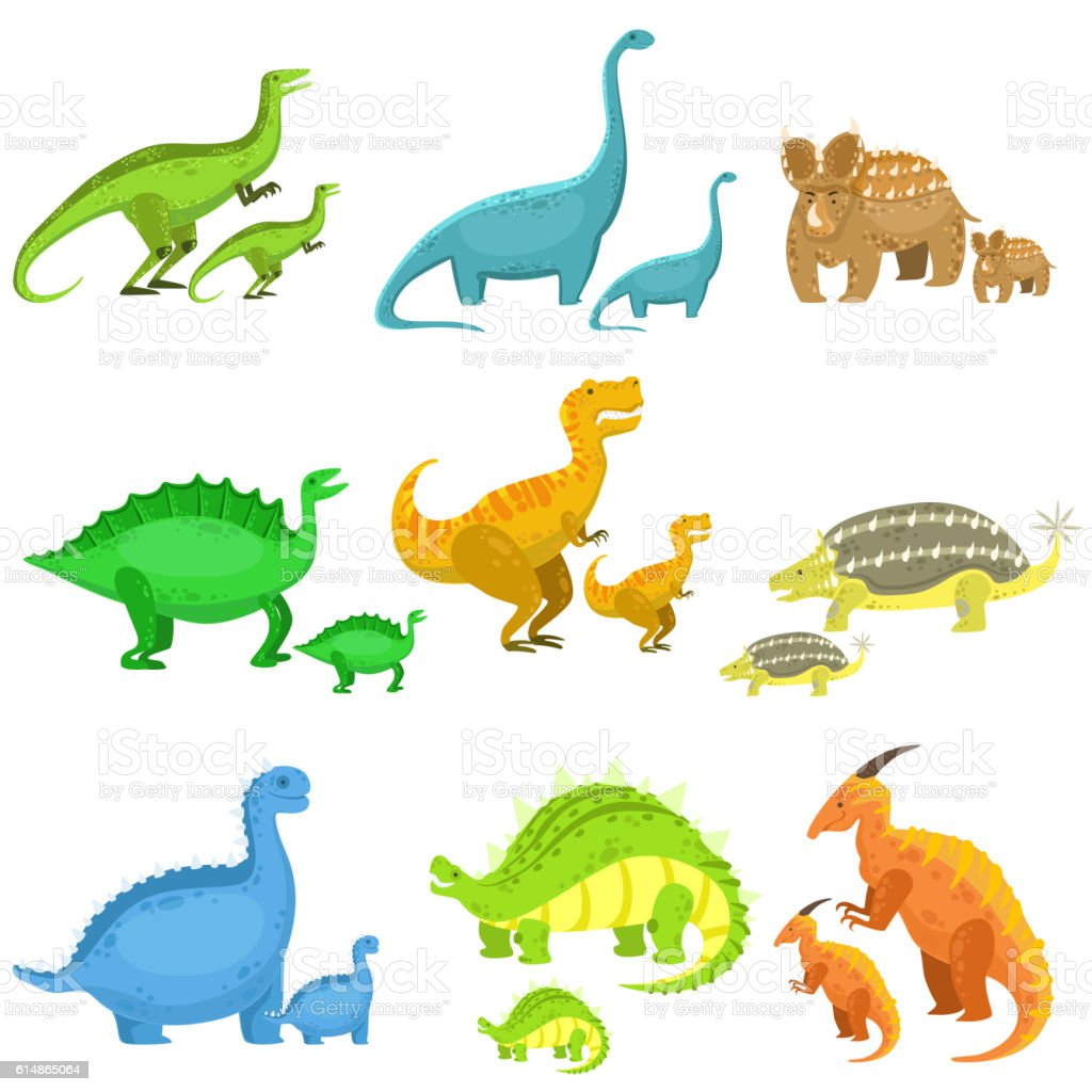 Different Dinosaurs In Pairs Of Big And Small vector art illustration