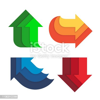 Different direction and colors arrows set flat style vector illustration isolated on white background