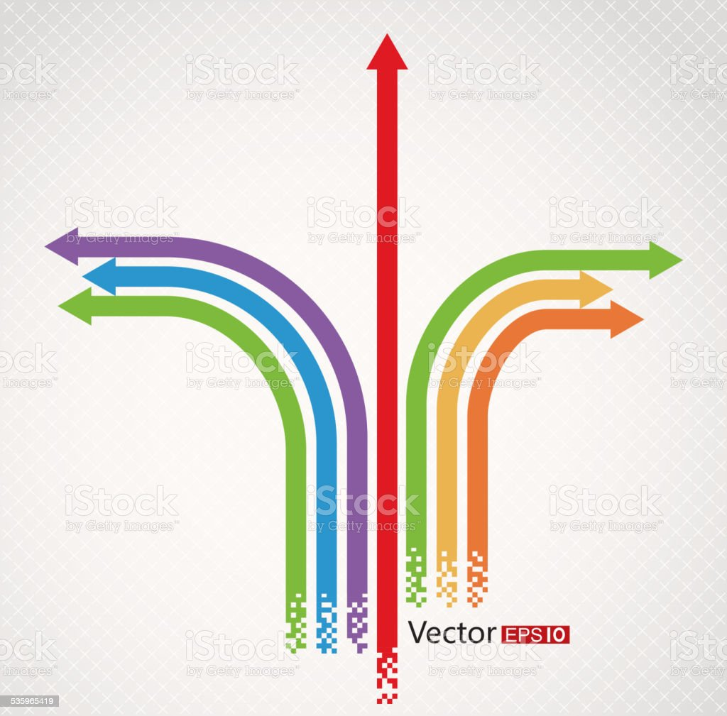 Different direction arrow vector art illustration