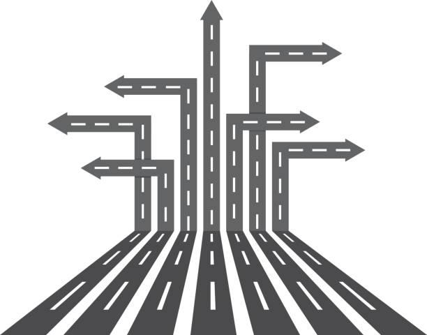 ilustrações de stock, clip art, desenhos animados e ícones de direcção estradas diferentes - driveway, no people
