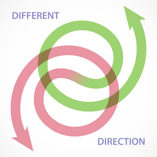 Different Direction Two arrow represent separation in different direction. crisscross stock illustrations