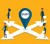 business people standing on arrows in different directions stock illustration