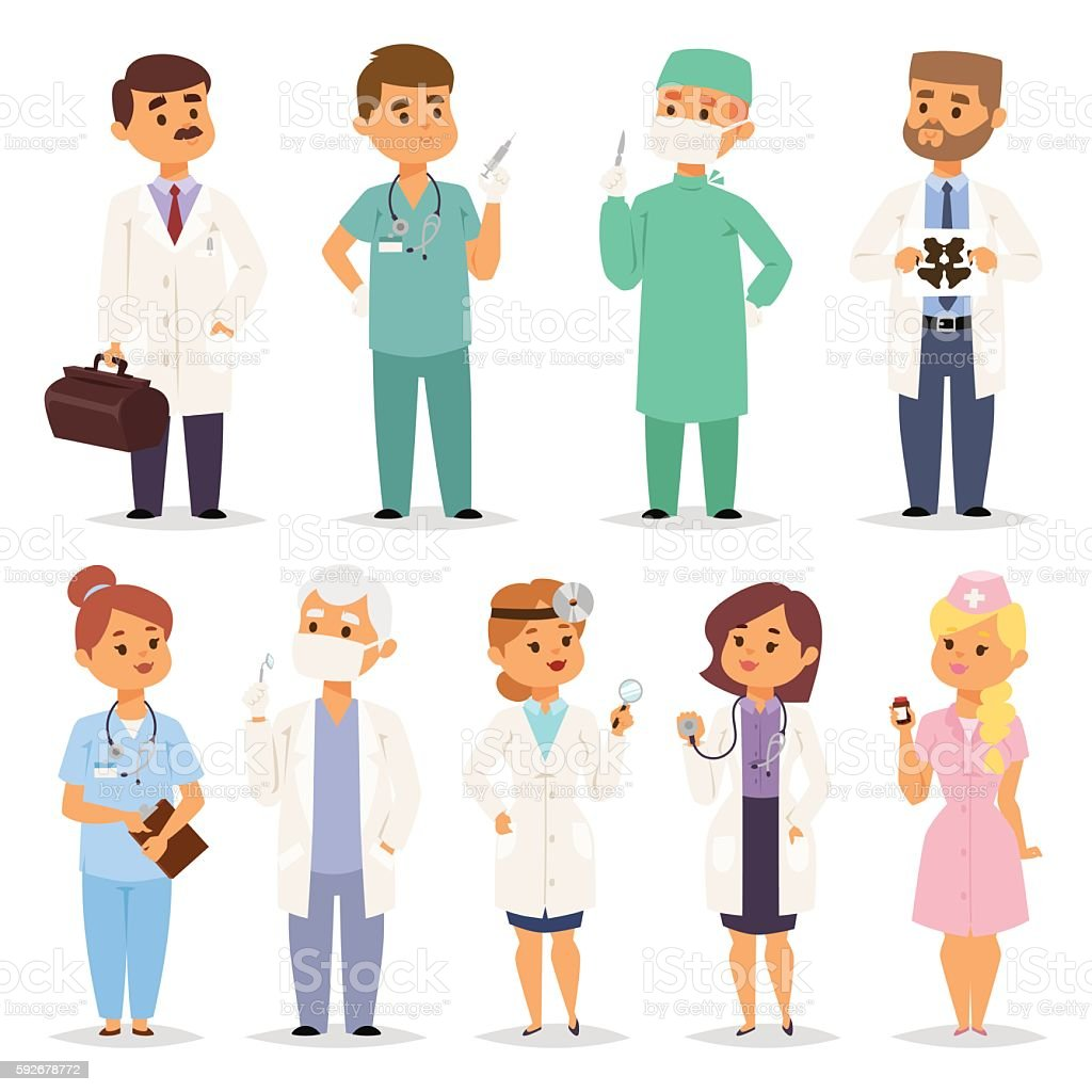 Different doctors charactsers vector set. vector art illustration
