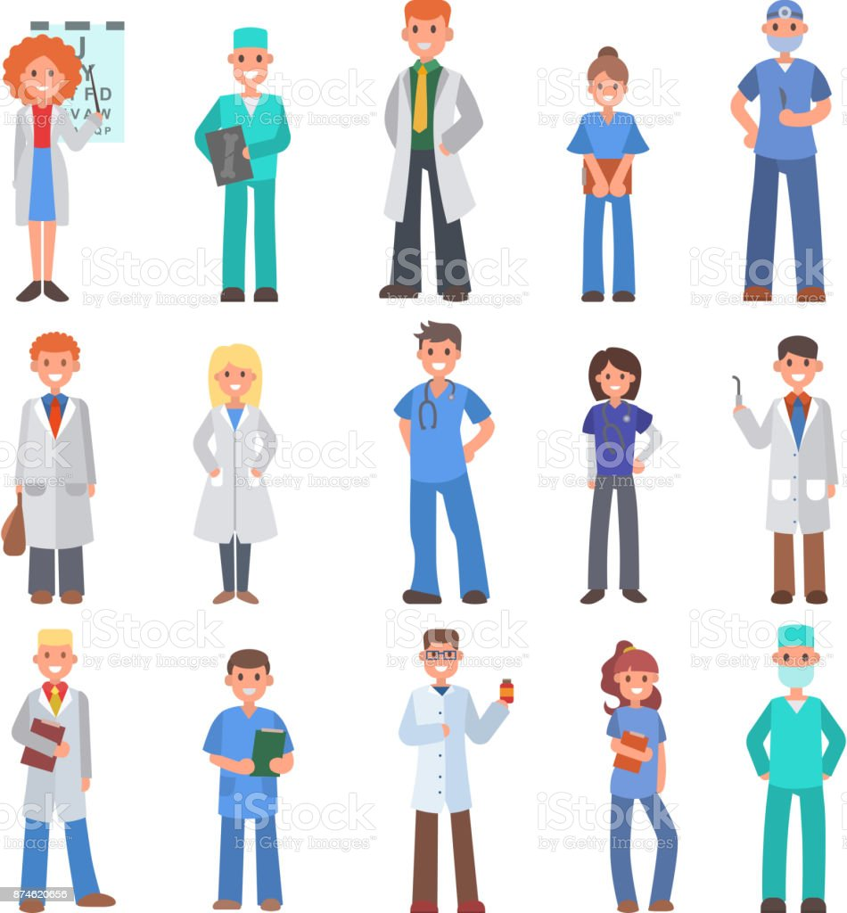 Different doctors people profession specialization nurses and medical...