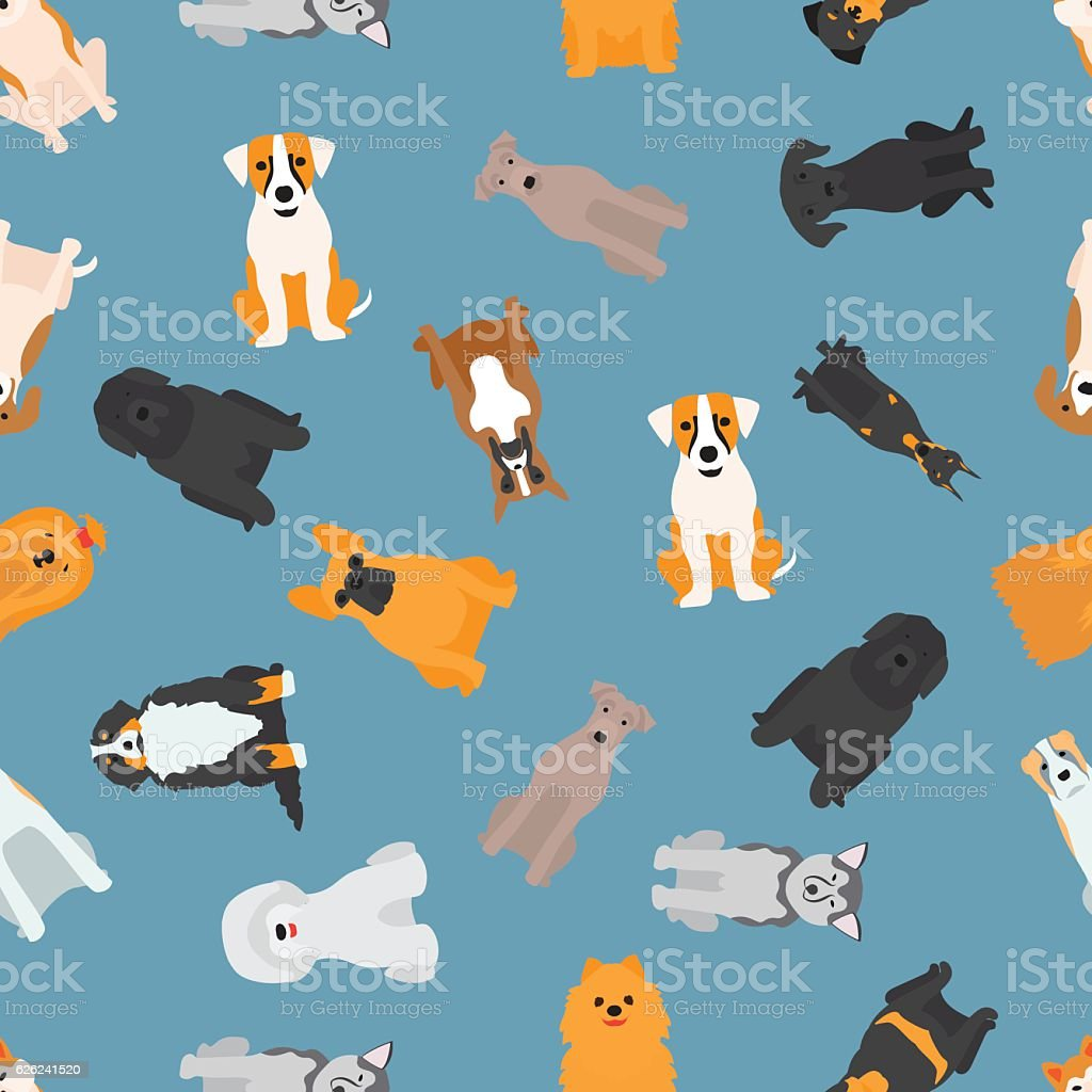 Different dogs breed seamless pattern vector art illustration