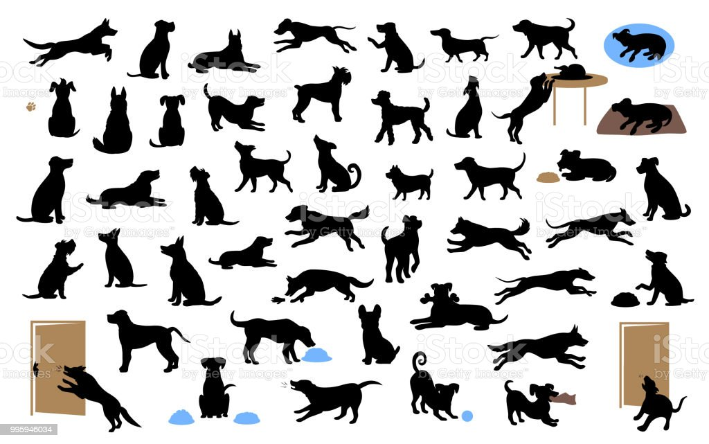 different dogs silhouettes set, pets walk, sit, play, eat, steal food, bark, protect run and jump, isolated vector illustration vector art illustration