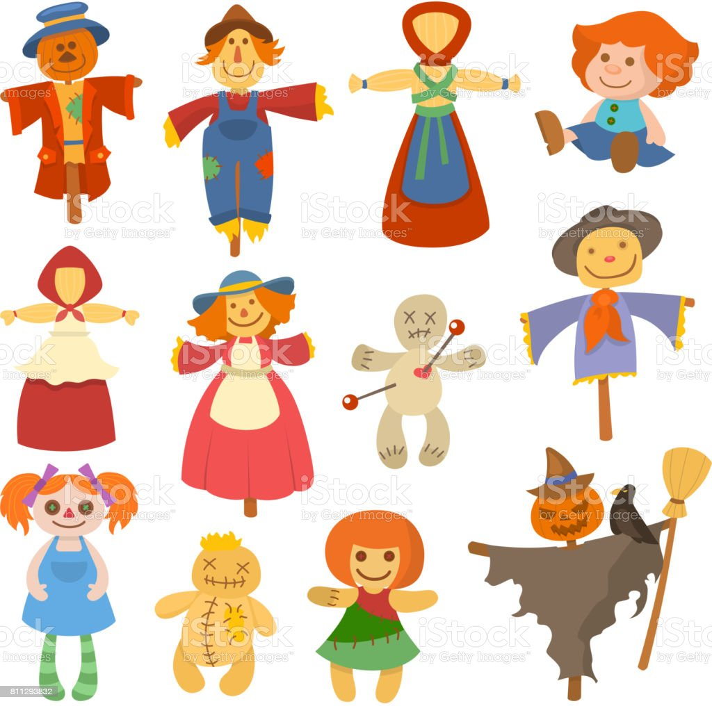 Different dolls toy character game dress and farm scarecrow rag-doll vector illustration vector art illustration